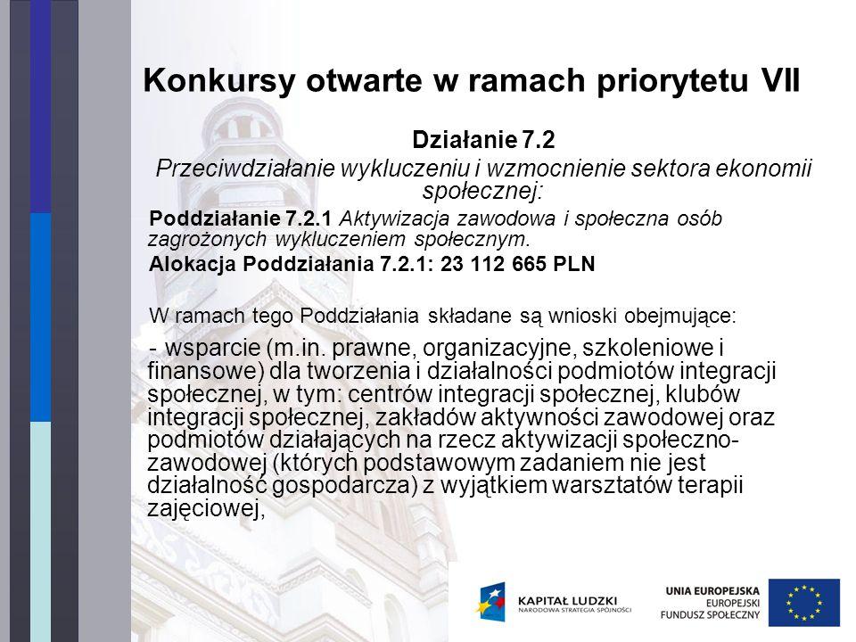 Konkursy otwarte w ramach priorytetu VII Działanie 7.2 Przeciwdziałanie wykluczeniu i wzmocnienie sektora ekonomii społecznej: Poddziałanie 7.2.1 Akty