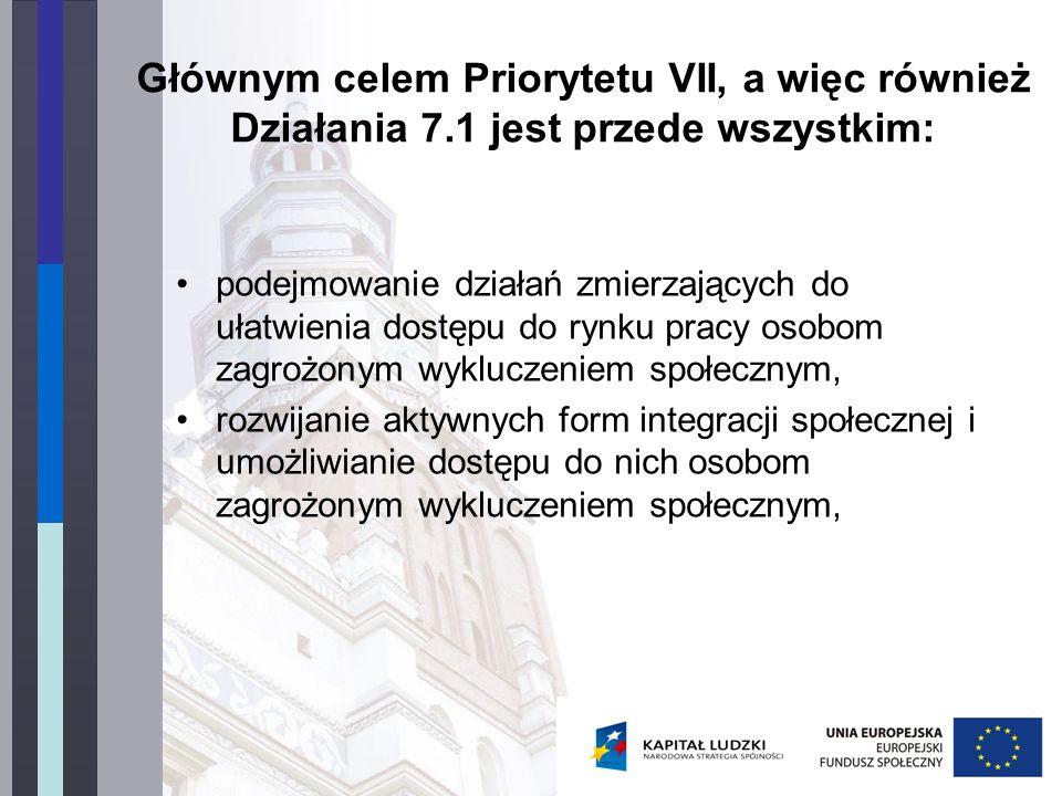 Głównym celem Priorytetu VII, a więc również Działania 7.1 jest przede wszystkim: podejmowanie działań zmierzających do ułatwienia dostępu do rynku pr