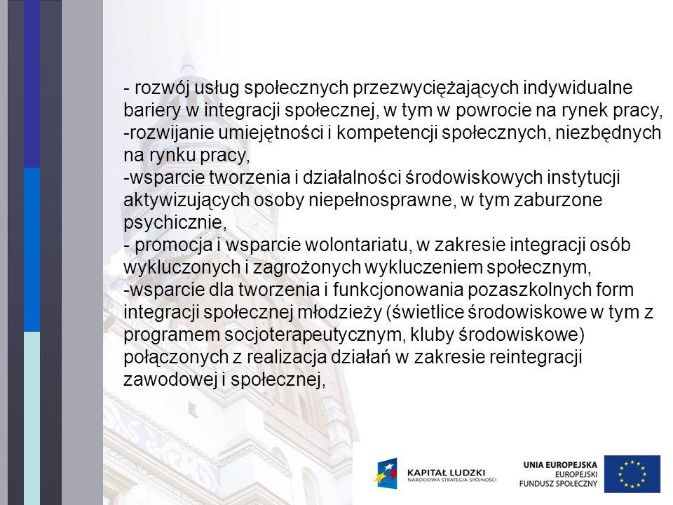- rozwój usług społecznych przezwyciężających indywidualne bariery w integracji społecznej, w tym w powrocie na rynek pracy, -rozwijanie umiejętności