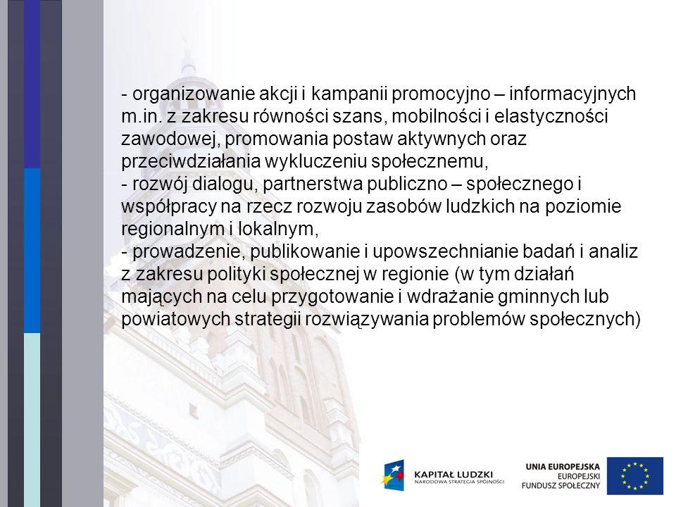 - organizowanie akcji i kampanii promocyjno – informacyjnych m.in.
