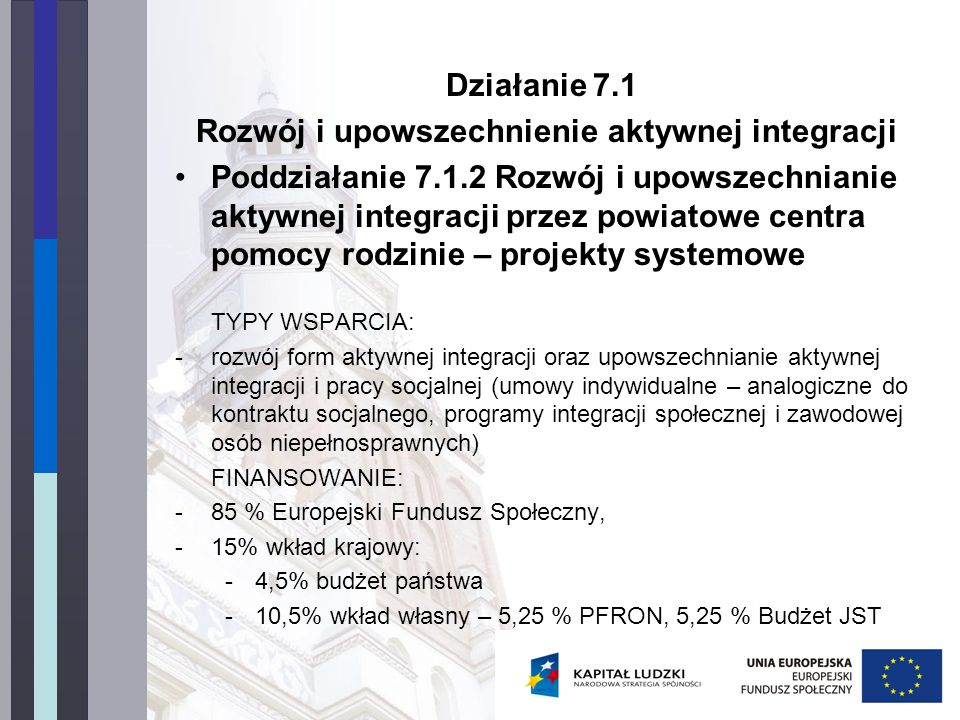 Działanie 7.1 Rozwój i upowszechnienie aktywnej integracji Poddziałanie 7.1.2 Rozwój i upowszechnianie aktywnej integracji przez powiatowe centra pomocy rodzinie – projekty systemowe TYPY WSPARCIA: -rozwój form aktywnej integracji oraz upowszechnianie aktywnej integracji i pracy socjalnej (umowy indywidualne – analogiczne do kontraktu socjalnego, programy integracji społecznej i zawodowej osób niepełnosprawnych) FINANSOWANIE: -85 % Europejski Fundusz Społeczny, -15% wkład krajowy: -4,5% budżet państwa -10,5% wkład własny – 5,25 % PFRON, 5,25 % Budżet JST