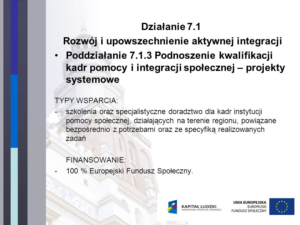 Działanie 7.1 Rozwój i upowszechnienie aktywnej integracji Poddziałanie 7.1.3 Podnoszenie kwalifikacji kadr pomocy i integracji społecznej – projekty systemowe TYPY WSPARCIA: -szkolenia oraz specjalistyczne doradztwo dla kadr instytucji pomocy społecznej, działających na terenie regionu, powiązane bezpośrednio z potrzebami oraz ze specyfiką realizowanych zadań FINANSOWANIE: -100 % Europejski Fundusz Społeczny.