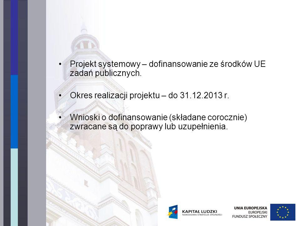 Projekt systemowy – dofinansowanie ze środków UE zadań publicznych. Okres realizacji projektu – do 31.12.2013 r. Wnioski o dofinansowanie (składane co
