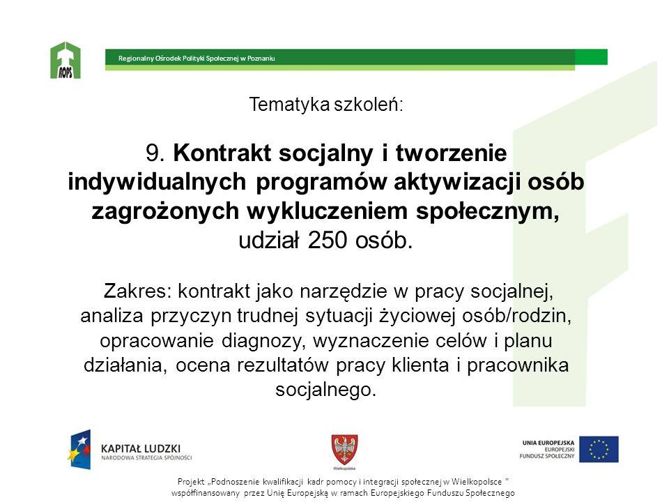 Tematyka szkoleń: 9. Kontrakt socjalny i tworzenie indywidualnych programów aktywizacji osób zagrożonych wykluczeniem społecznym, udział 250 osób. Zak
