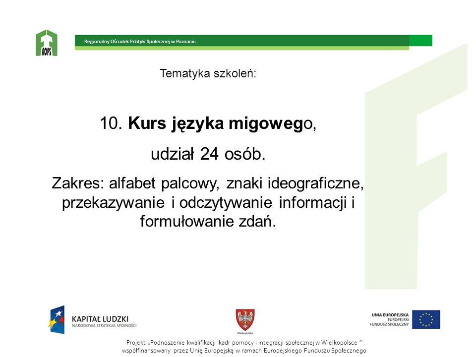 Tematyka szkoleń: 10. Kurs języka migowego, udział 24 osób. Zakres: alfabet palcowy, znaki ideograficzne, przekazywanie i odczytywanie informacji i fo