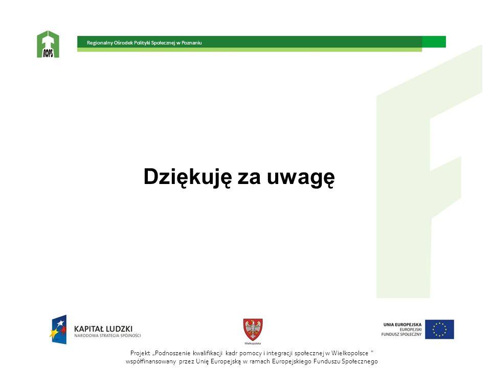 Dziękuję za uwagę Projekt Podnoszenie kwalifikacji kadr pomocy i integracji społecznej w Wielkopolsce współfinansowany przez Unię Europejską w ramach