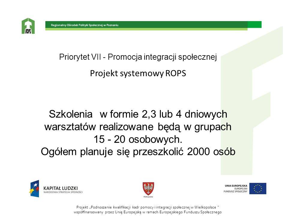 Priorytet VII - Promocja integracji społecznej Projekt systemowy ROPS Doradztwo dla kadr instytucji pomocy społecznej: - pomoc w opracowywaniu i realizacji projektów systemowych ops i pcpr; - planowanie i wdrażanie rozwiązań systemowych, w tym metod i narzędzi zwiększających efektywność działań w projektach systemowych; Projekt Podnoszenie kwalifikacji kadr pomocy i integracji społecznej w Wielkopolsce współfinansowany przez Unię Europejską w ramach Europejskiego Funduszu Społecznego Regionalny Ośrodek Polityki Społecznej w Poznaniu