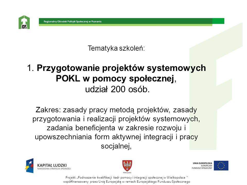 Tematyka szkoleń: 1. Przygotowanie projektów systemowych POKL w pomocy społecznej, udział 200 osób. Zakres: zasady pracy metodą projektów, zasady przy