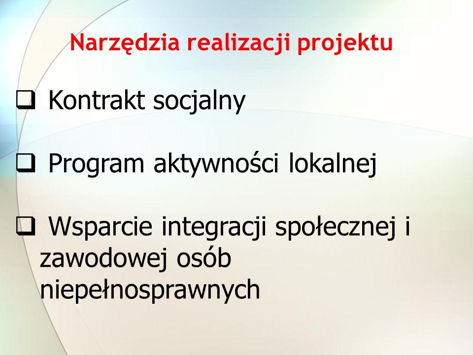 Narzędzia realizacji projektu Kontrakt socjalny Program aktywności lokalnej Wsparcie integracji społecznej i zawodowej osób niepełnosprawnych