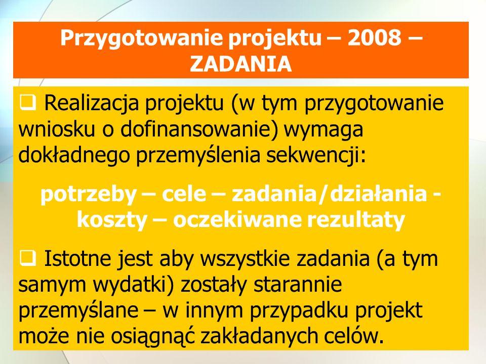Przygotowanie projektu – 2008 – ZADANIA Realizacja projektu (w tym przygotowanie wniosku o dofinansowanie) wymaga dokładnego przemyślenia sekwencji: potrzeby – cele – zadania/działania - koszty – oczekiwane rezultaty Istotne jest aby wszystkie zadania (a tym samym wydatki) zostały starannie przemyślane – w innym przypadku projekt może nie osiągnąć zakładanych celów.