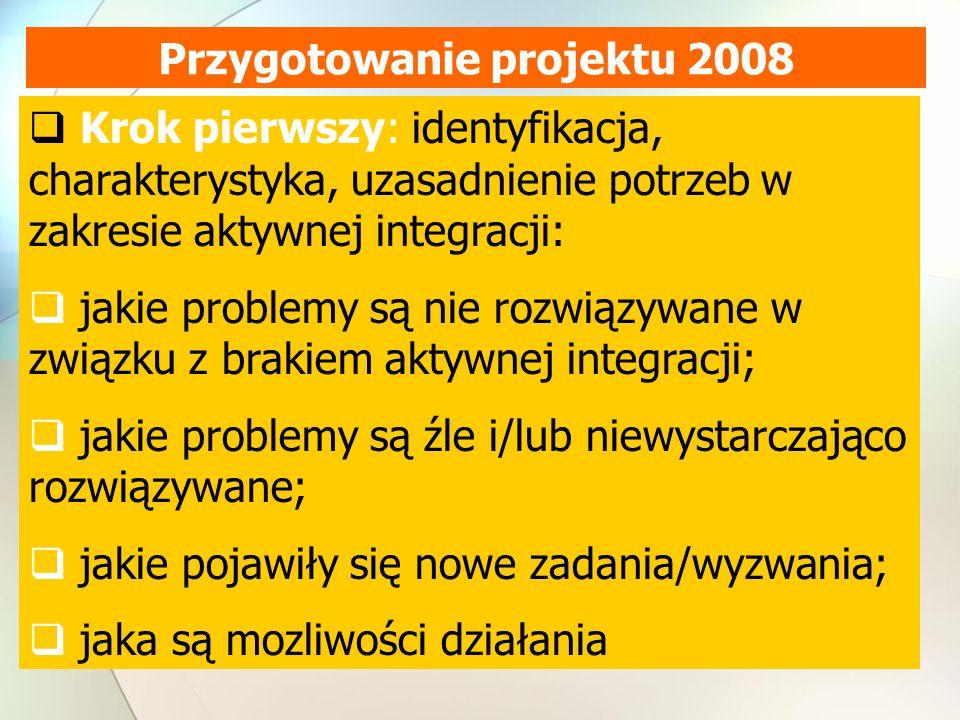 Przygotowanie projektu 2008 Krok pierwszy: identyfikacja, charakterystyka, uzasadnienie potrzeb w zakresie aktywnej integracji: jakie problemy są nie rozwiązywane w związku z brakiem aktywnej integracji; jakie problemy są źle i/lub niewystarczająco rozwiązywane; jakie pojawiły się nowe zadania/wyzwania; jaka są mozliwości działania