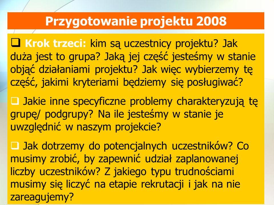 Przygotowanie projektu 2008 Krok trzeci: kim są uczestnicy projektu.