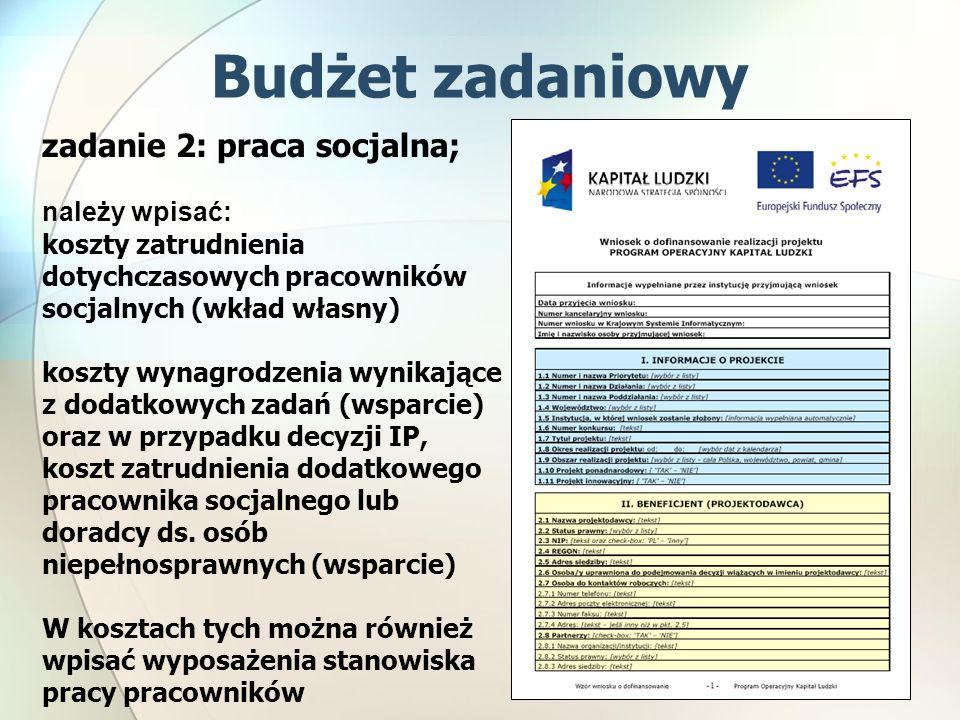 zadanie 2: praca socjalna; należy wpisać: koszty zatrudnienia dotychczasowych pracowników socjalnych (wkład własny) koszty wynagrodzenia wynikające z dodatkowych zadań (wsparcie) oraz w przypadku decyzji IP, koszt zatrudnienia dodatkowego pracownika socjalnego lub doradcy ds.