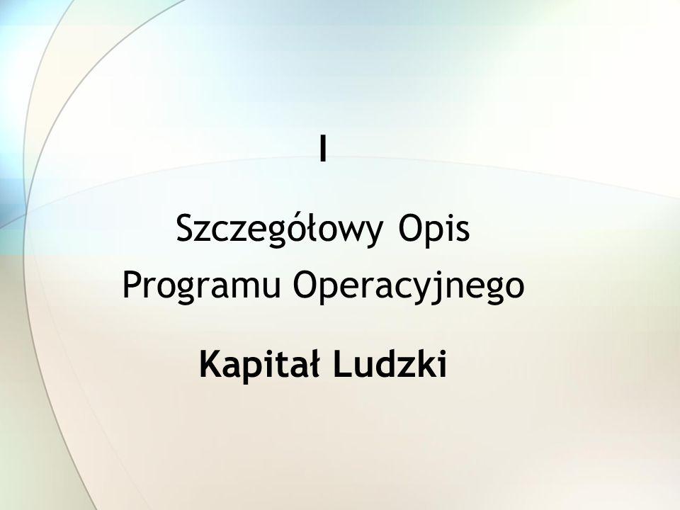 I Szczegółowy Opis Programu Operacyjnego Kapitał Ludzki