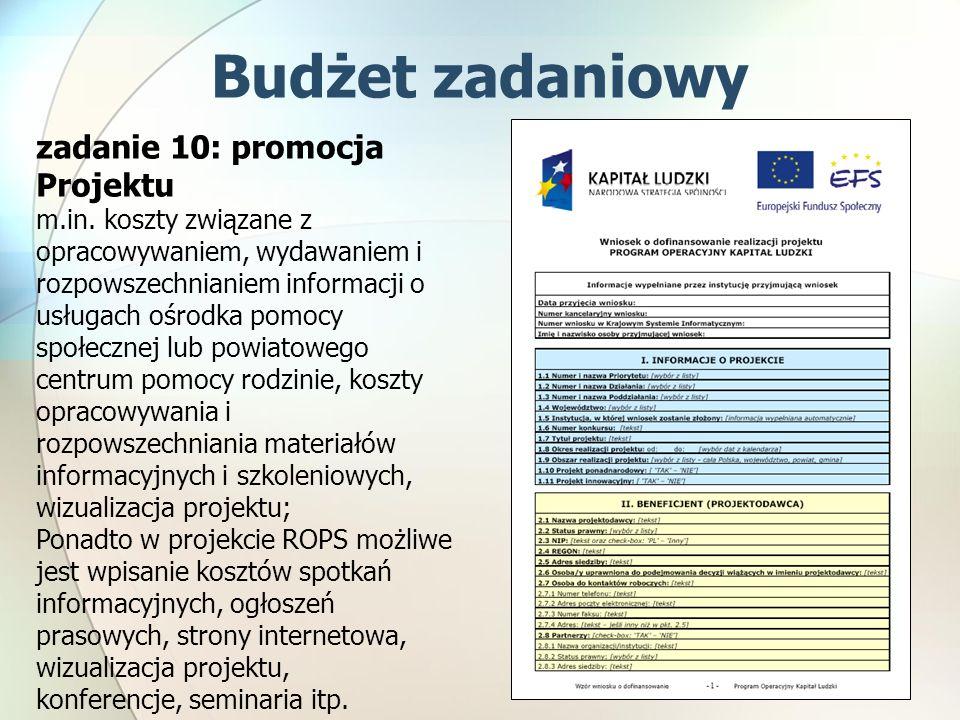 zadanie 10: promocja Projektu m.in. koszty związane z opracowywaniem, wydawaniem i rozpowszechnianiem informacji o usługach ośrodka pomocy społecznej