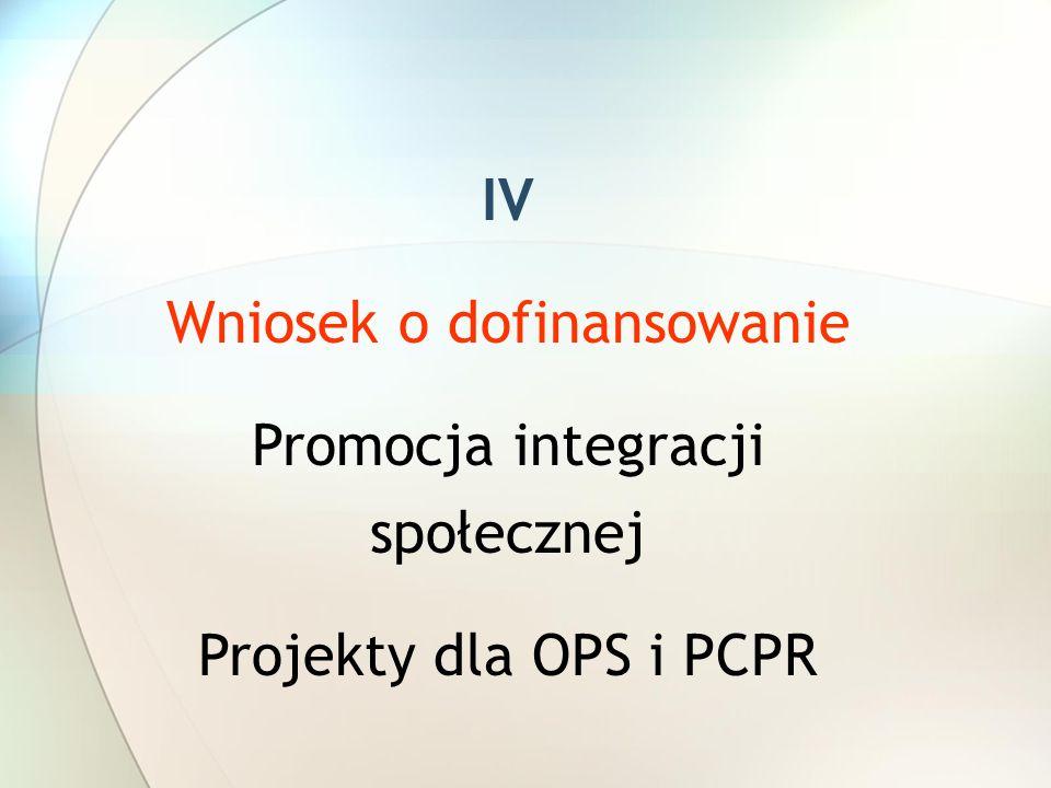 IV Wniosek o dofinansowanie Promocja integracji społecznej Projekty dla OPS i PCPR