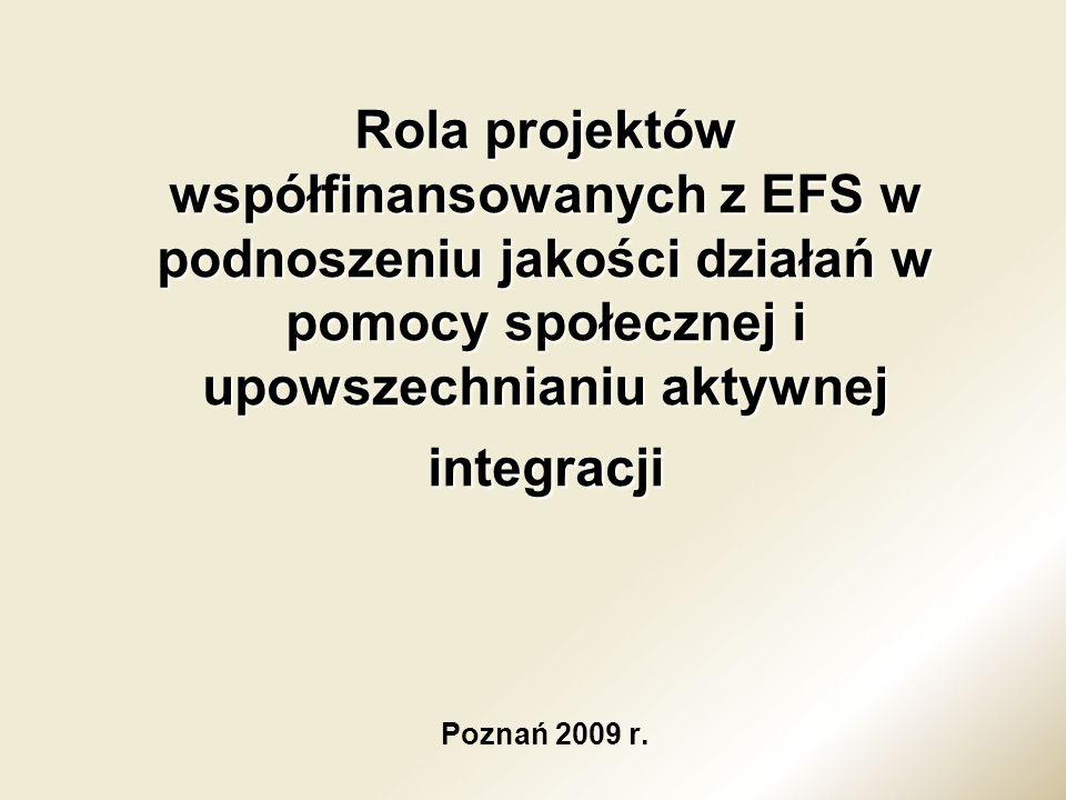 Rola projektów współfinansowanych z EFS w podnoszeniu jakości działań w pomocy społecznej i upowszechnianiu aktywnej integracji Rola projektów współfi
