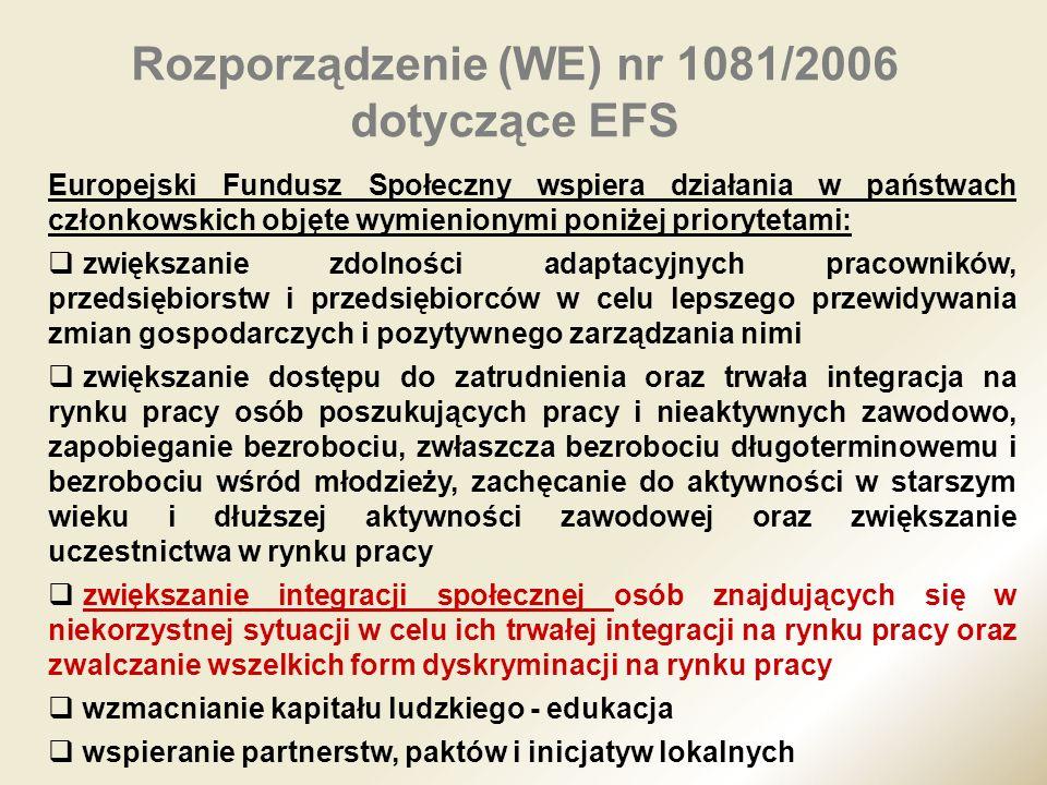 Rozporządzenie (WE) nr 1081/2006 dotyczące EFS Europejski Fundusz Społeczny wspiera działania w państwach członkowskich objęte wymienionymi poniżej pr