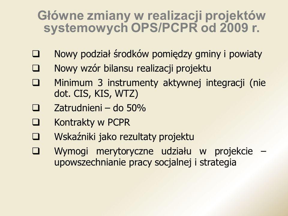 Nowy podział środków pomiędzy gminy i powiaty Nowy wzór bilansu realizacji projektu Minimum 3 instrumenty aktywnej integracji (nie dot. CIS, KIS, WTZ)