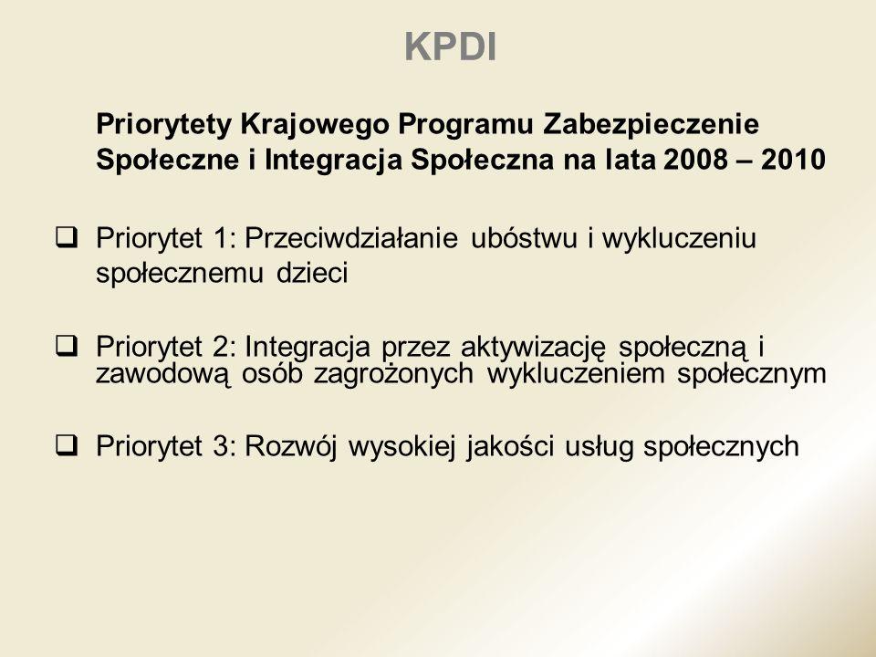 KPDI Priorytety Krajowego Programu Zabezpieczenie Społeczne i Integracja Społeczna na lata 2008 – 2010 Priorytet 1: Przeciwdziałanie ubóstwu i wyklucz