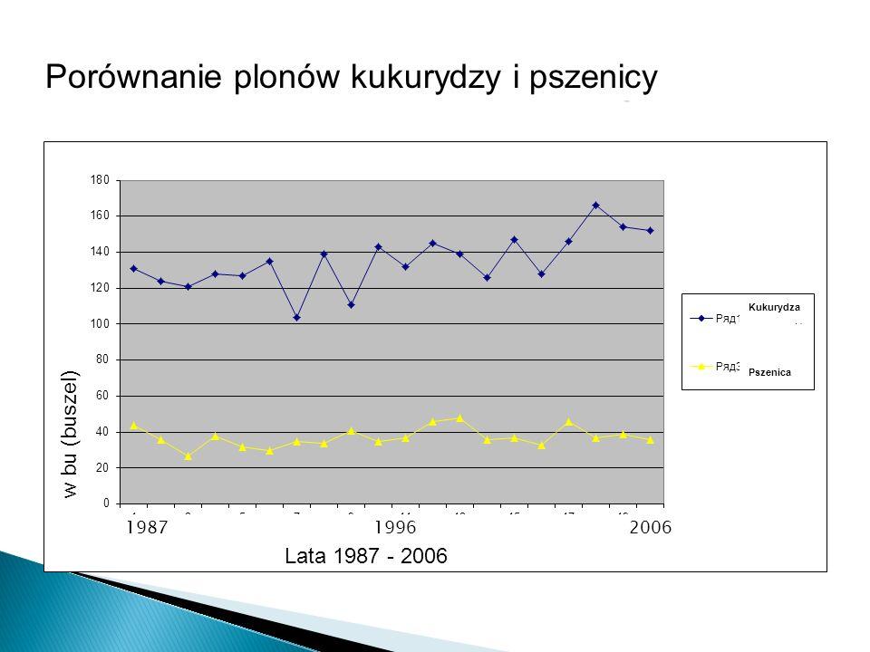 w bu (buszel) Lata 1987 - 2006 Kukurydza Pszenica Porównanie plonów kukurydzy i pszenicy