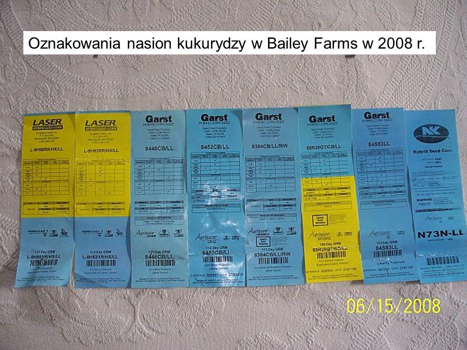 Oznakowania nasion kukurydzy w Bailey Farms w 2008 r.