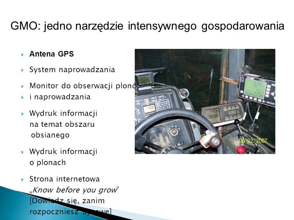 Antena GPS System naprowadzania Monitor do obserwacji plonów i naprowadzania Wydruk informacji na temat obszaru obsianego Wydruk informacji o plonach