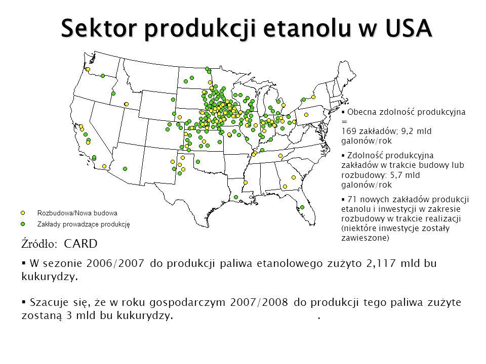 Obecna zdolność produkcyjna = 169 zakładów; 9,2 mld galonów/rok Zdolność produkcyjna zakładów w trakcie budowy lub rozbudowy: 5,7 mld galonów/rok 71 n