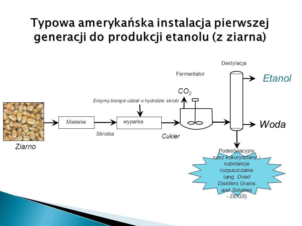 Typowa amerykańska instalacja pierwszej generacji do produkcji etanolu (z ziarna) CO 2 Enzymy biorące udział w hydrolizie skrobi Fermentator wyparka Z