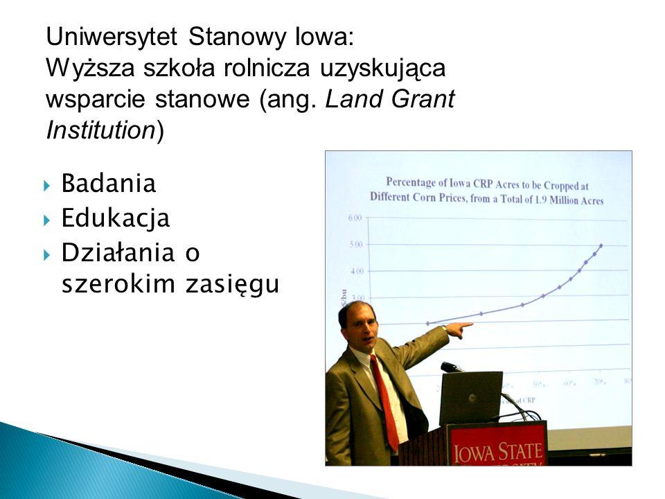 Badania Edukacja Działania o szerokim zasięgu Uniwersytet Stanowy Iowa: Wyższa szkoła rolnicza uzyskująca wsparcie stanowe (ang. Land Grant Institutio