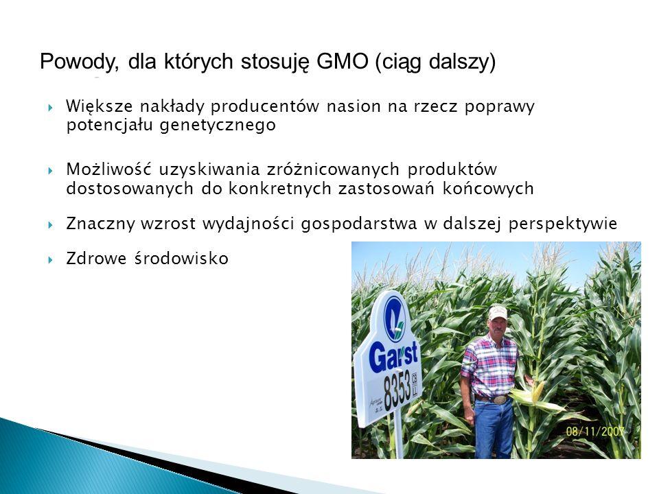 Większe nakłady producentów nasion na rzecz poprawy potencjału genetycznego Możliwość uzyskiwania zróżnicowanych produktów dostosowanych do konkretnyc