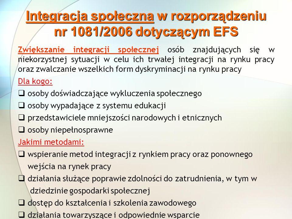 Integracja społeczna w rozporządzeniu nr 1081/2006 dotyczącym EFS Zwiększanie integracji społecznej osób znajdujących się w niekorzystnej sytuacji w c
