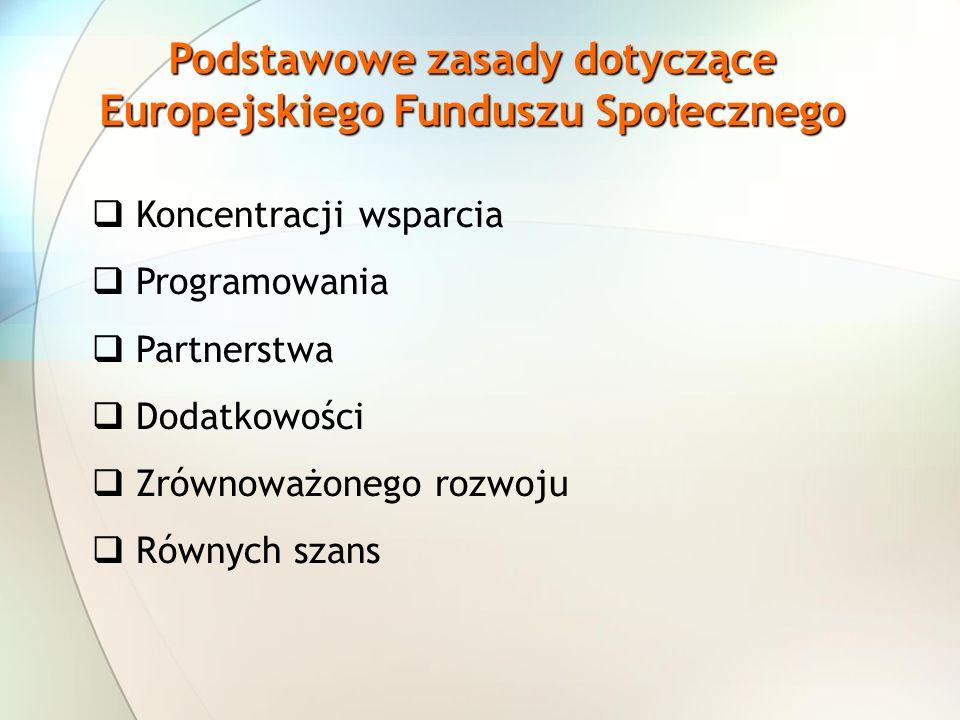 Podstawowe zasady dotyczące Europejskiego Funduszu Społecznego Koncentracji wsparcia Programowania Partnerstwa Dodatkowości Zrównoważonego rozwoju Rów