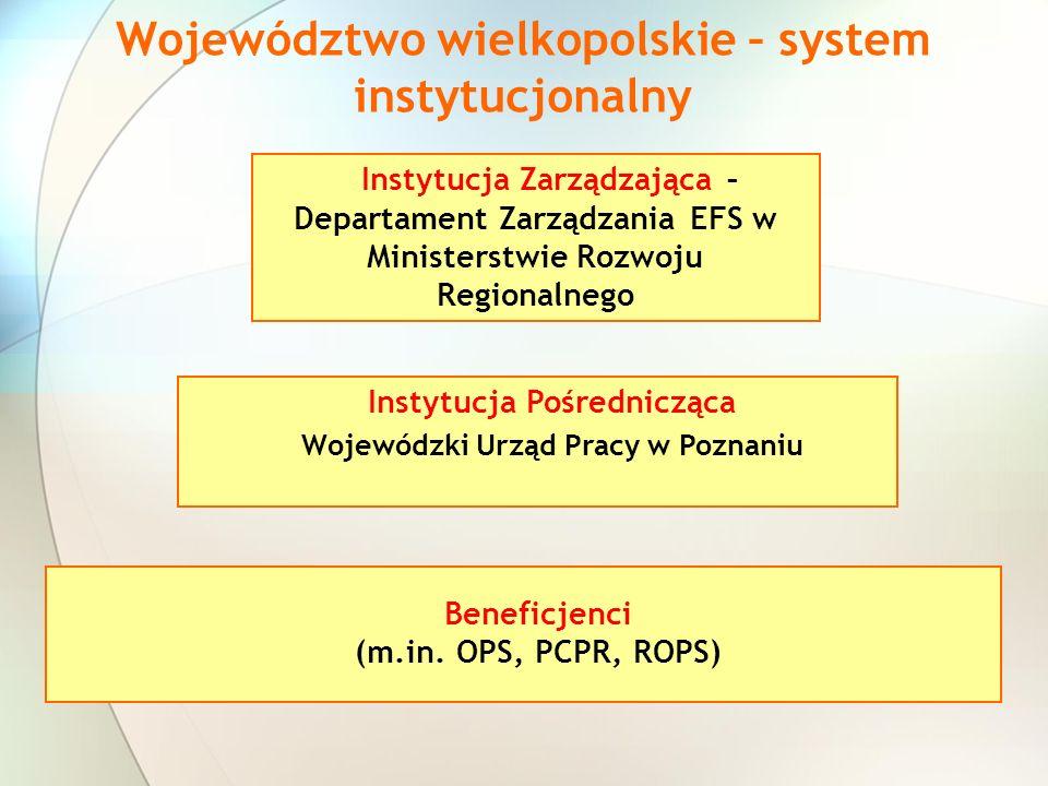 Instytucja Zarządzająca – Departament Zarządzania EFS w Ministerstwie Rozwoju Regionalnego Instytucja Pośrednicząca Wojewódzki Urząd Pracy w Poznaniu Beneficjenci (m.in.