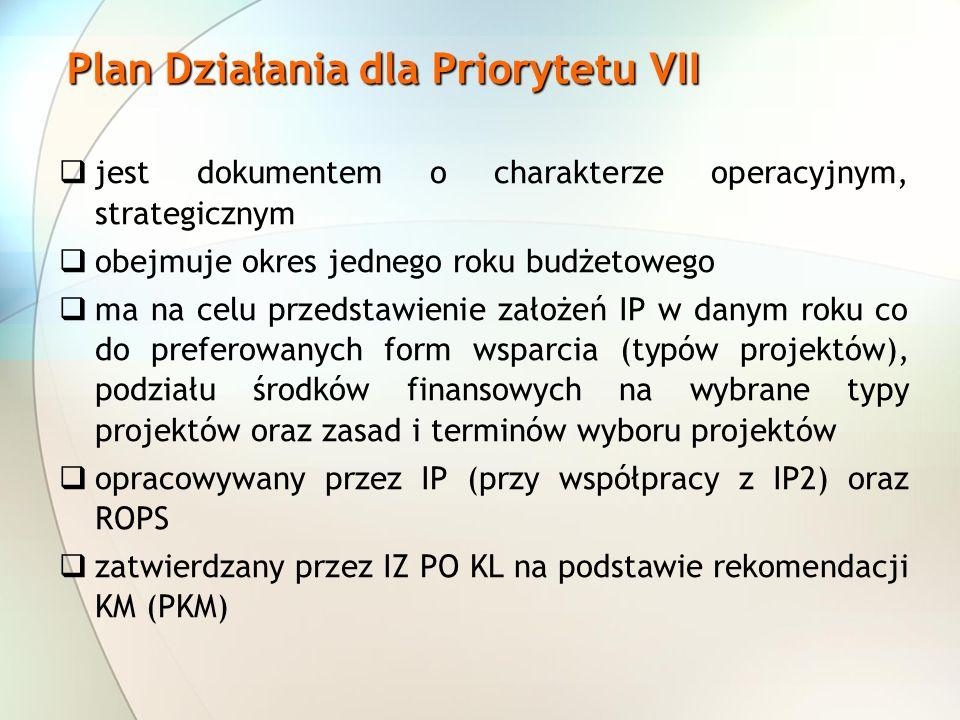 Plan Działania dla Priorytetu VII jest dokumentem o charakterze operacyjnym, strategicznym obejmuje okres jednego roku budżetowego ma na celu przedsta
