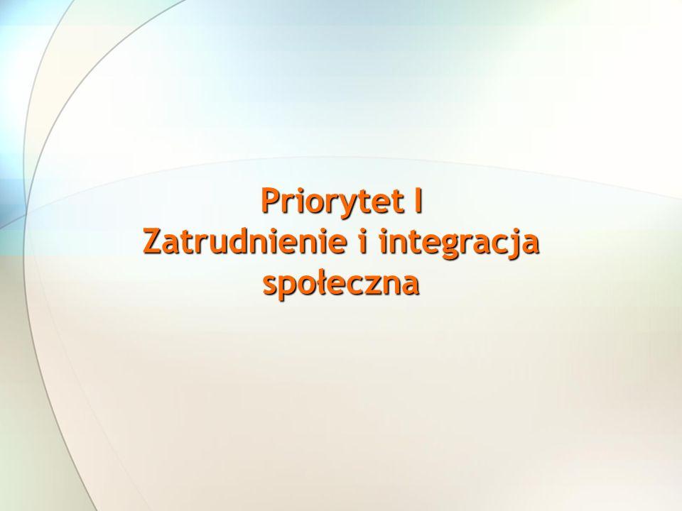 Priorytet I Zatrudnienie i integracja społeczna