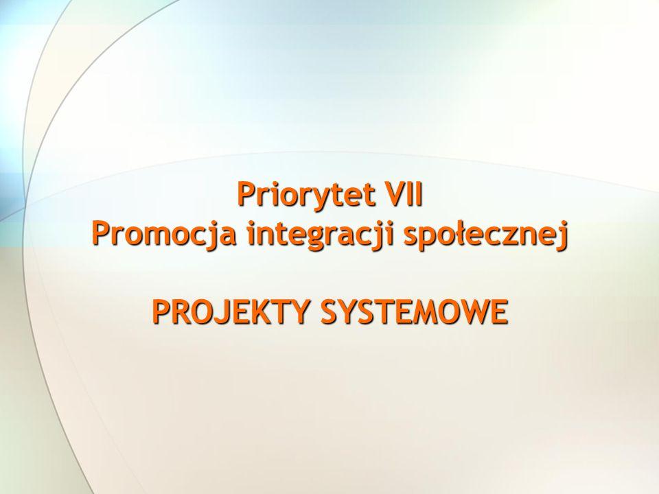 Priorytet VII Promocja integracji społecznej PROJEKTY SYSTEMOWE