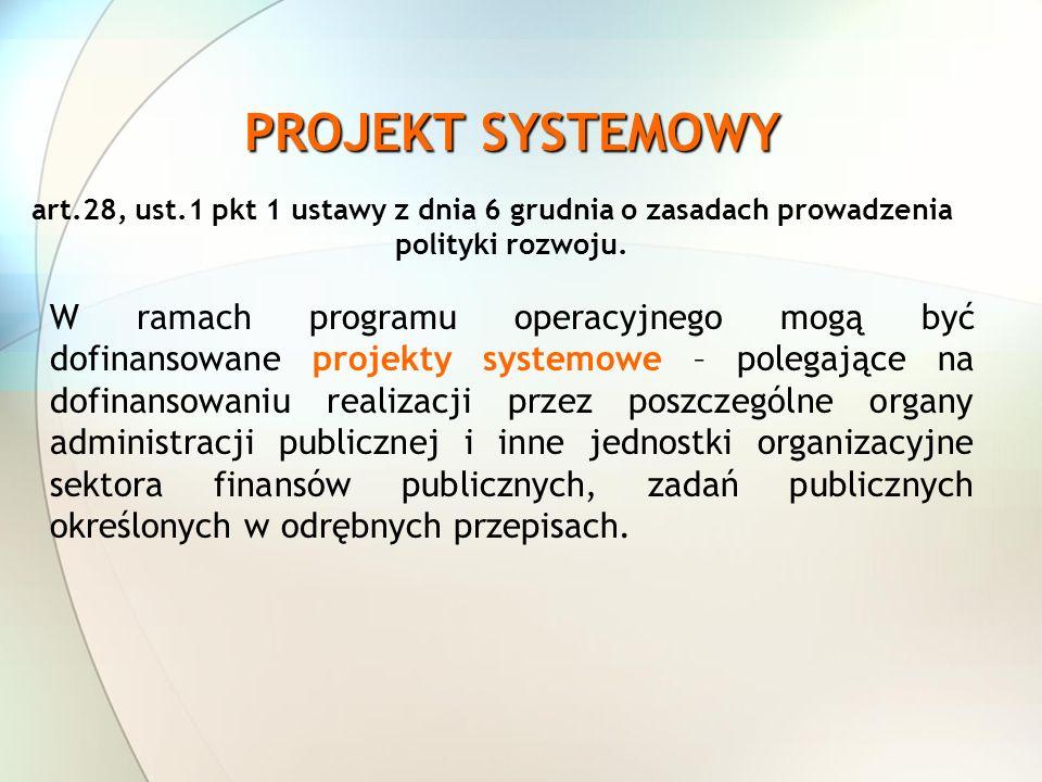 PROJEKT SYSTEMOWY art.28, ust.1 pkt 1 ustawy z dnia 6 grudnia o zasadach prowadzenia polityki rozwoju. W ramach programu operacyjnego mogą być dofinan