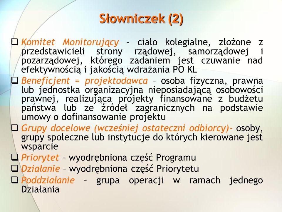 Komitet Monitorujący – ciało kolegialne, złożone z przedstawicieli strony rządowej, samorządowej i pozarządowej, którego zadaniem jest czuwanie nad ef