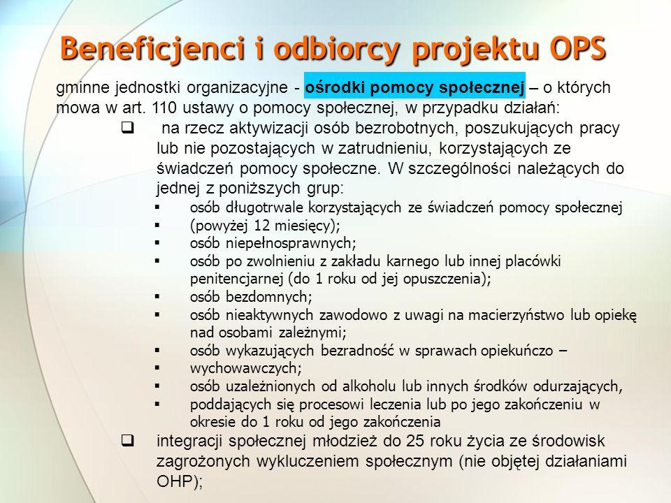 Beneficjenci i odbiorcy projektu OPS gminne jednostki organizacyjne - ośrodki pomocy społecznej – o których mowa w art. 110 ustawy o pomocy społecznej