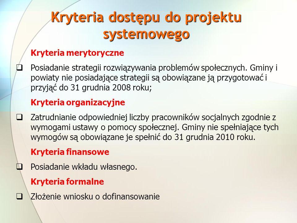 Kryteria dostępu do projektu systemowego Kryteria merytoryczne Posiadanie strategii rozwiązywania problemów społecznych. Gminy i powiaty nie posiadają