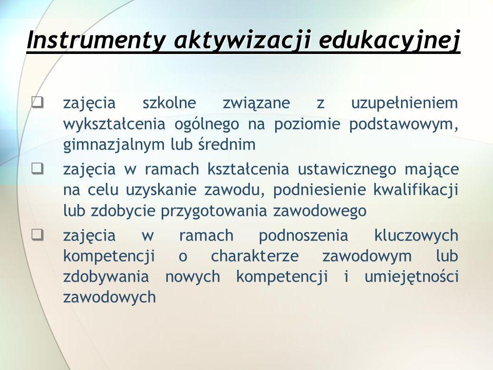 Instrumenty aktywizacji edukacyjnej zajęcia szkolne związane z uzupełnieniem wykształcenia ogólnego na poziomie podstawowym, gimnazjalnym lub średnim zajęcia w ramach kształcenia ustawicznego mające na celu uzyskanie zawodu, podniesienie kwalifikacji lub zdobycie przygotowania zawodowego zajęcia w ramach podnoszenia kluczowych kompetencji o charakterze zawodowym lub zdobywania nowych kompetencji i umiejętności zawodowych