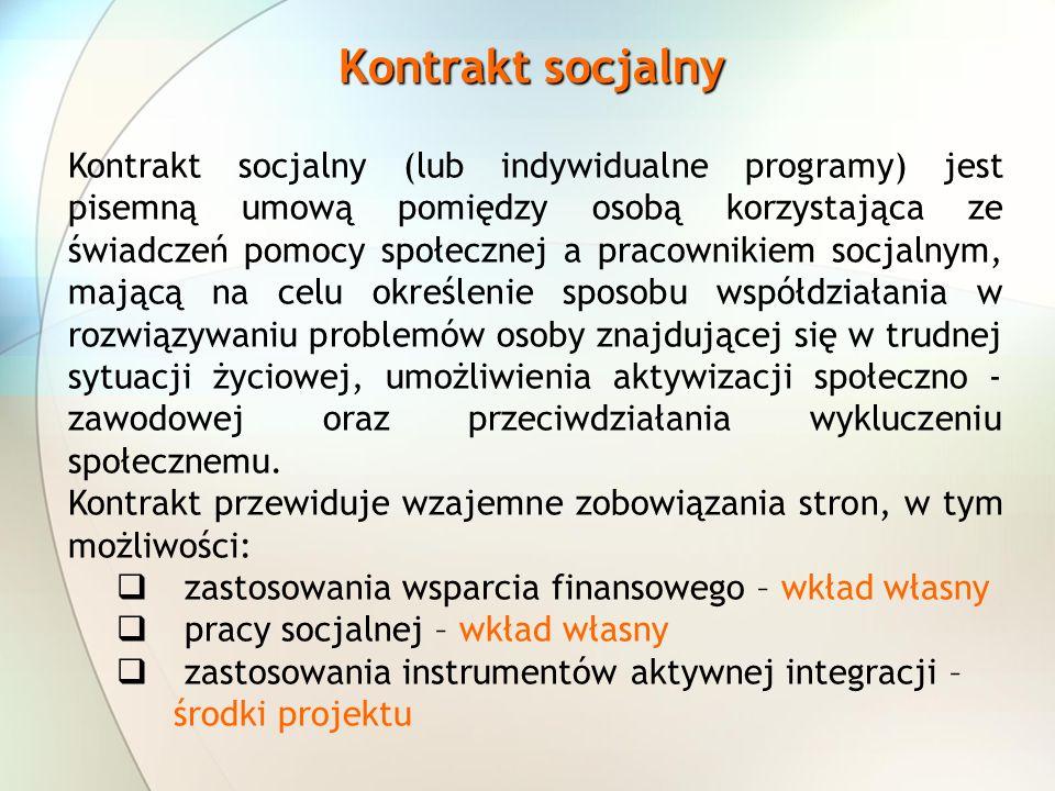 Kontrakt socjalny Kontrakt socjalny (lub indywidualne programy) jest pisemną umową pomiędzy osobą korzystająca ze świadczeń pomocy społecznej a pracownikiem socjalnym, mającą na celu określenie sposobu współdziałania w rozwiązywaniu problemów osoby znajdującej się w trudnej sytuacji życiowej, umożliwienia aktywizacji społeczno - zawodowej oraz przeciwdziałania wykluczeniu społecznemu.