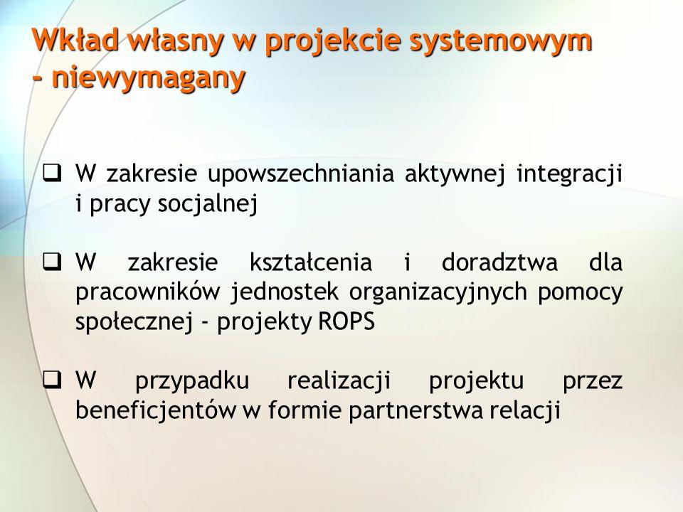 Wkład własny w projekcie systemowym - niewymagany W zakresie upowszechniania aktywnej integracji i pracy socjalnej W zakresie kształcenia i doradztwa