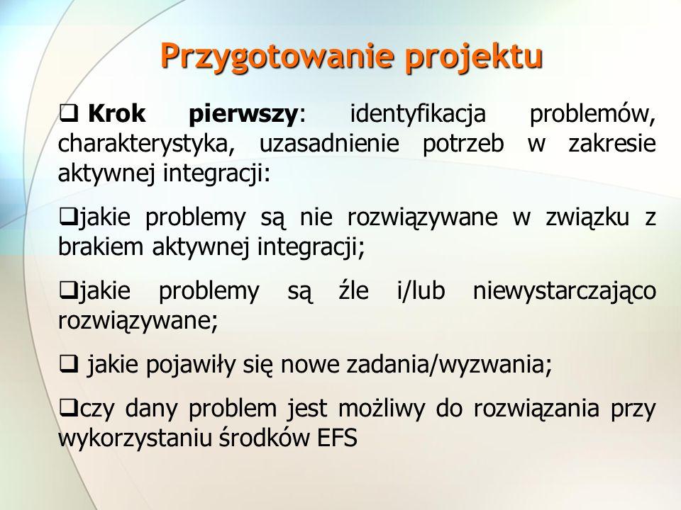 Krok pierwszy: identyfikacja problemów, charakterystyka, uzasadnienie potrzeb w zakresie aktywnej integracji: jakie problemy są nie rozwiązywane w związku z brakiem aktywnej integracji; jakie problemy są źle i/lub niewystarczająco rozwiązywane; jakie pojawiły się nowe zadania/wyzwania; czy dany problem jest możliwy do rozwiązania przy wykorzystaniu środków EFS Przygotowanie projektu