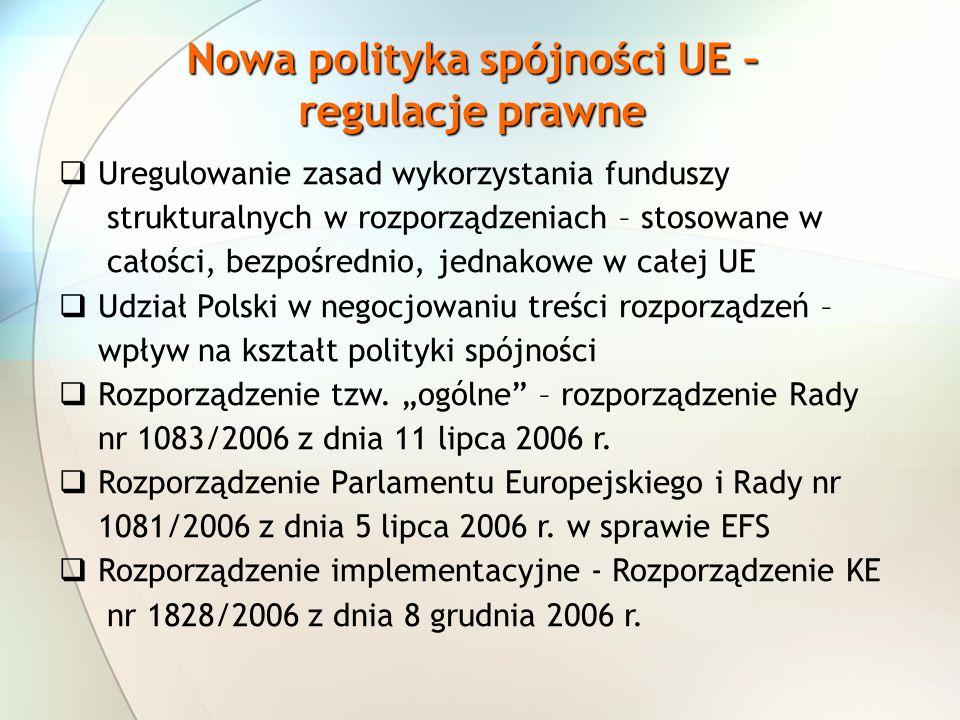 Nowa polityka spójności UE – regulacje prawne Uregulowanie zasad wykorzystania funduszy strukturalnych w rozporządzeniach – stosowane w całości, bezpośrednio, jednakowe w całej UE Udział Polski w negocjowaniu treści rozporządzeń – wpływ na kształt polityki spójności Rozporządzenie tzw.