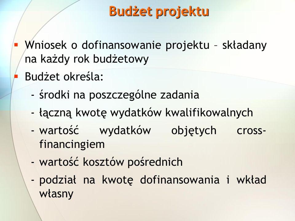 Budżet projektu Wniosek o dofinansowanie projektu – składany na każdy rok budżetowy Budżet określa: -środki na poszczególne zadania -łączną kwotę wydatków kwalifikowalnych -wartość wydatków objętych cross- financingiem -wartość kosztów pośrednich -podział na kwotę dofinansowania i wkład własny
