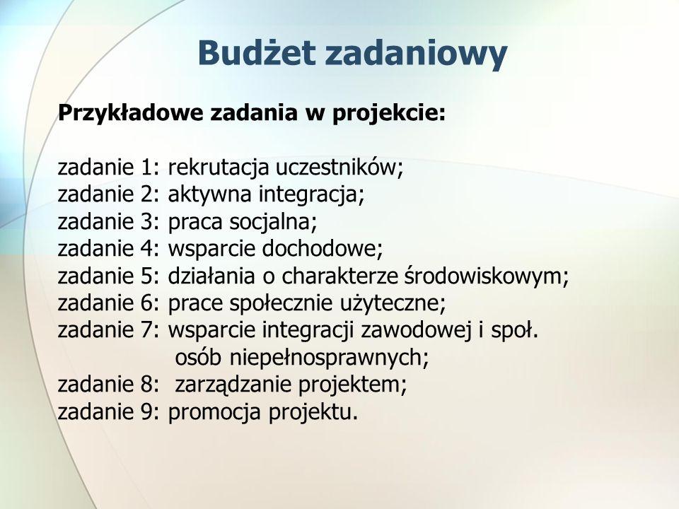 Budżet zadaniowy Przykładowe zadania w projekcie: zadanie 1: rekrutacja uczestników; zadanie 2: aktywna integracja; zadanie 3: praca socjalna; zadanie