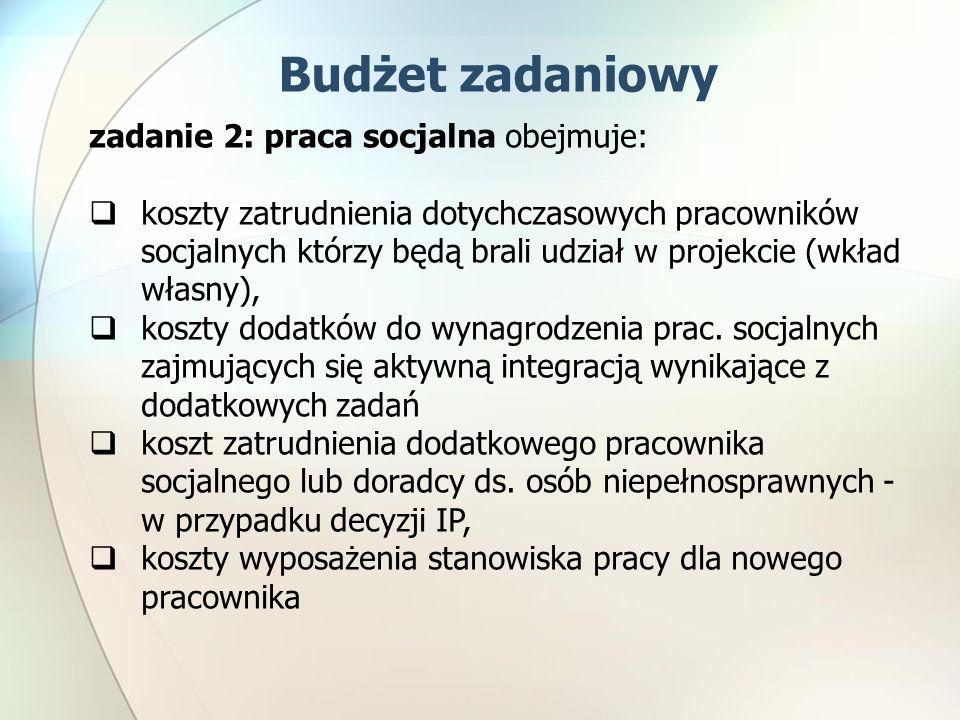 zadanie 2: praca socjalna obejmuje: koszty zatrudnienia dotychczasowych pracowników socjalnych którzy będą brali udział w projekcie (wkład własny), koszty dodatków do wynagrodzenia prac.