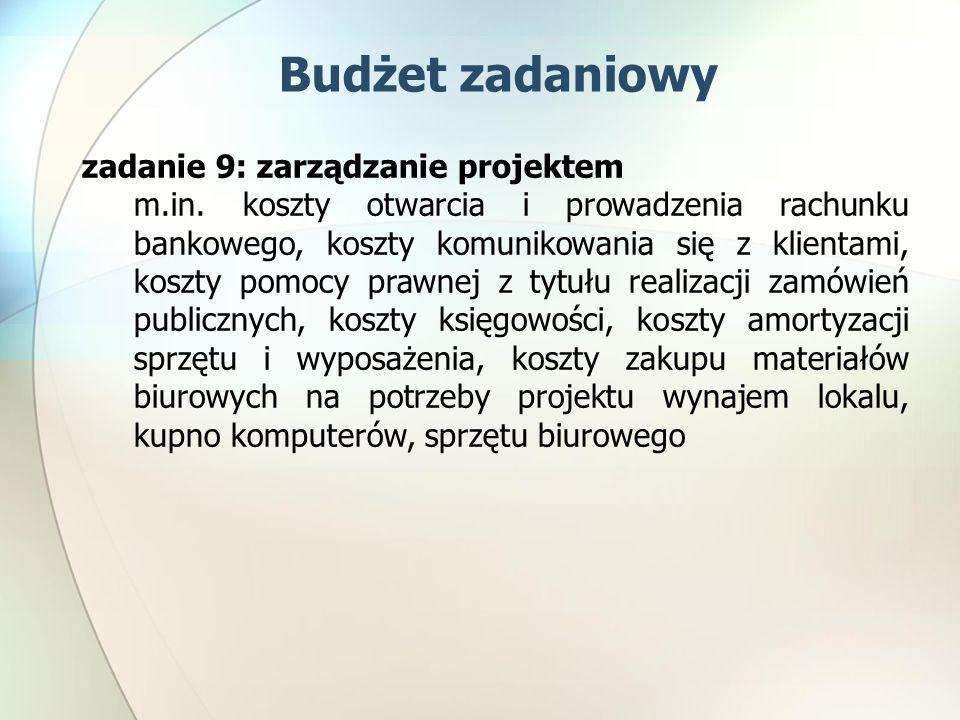 zadanie 9: zarządzanie projektem m.in. koszty otwarcia i prowadzenia rachunku bankowego, koszty komunikowania się z klientami, koszty pomocy prawnej z